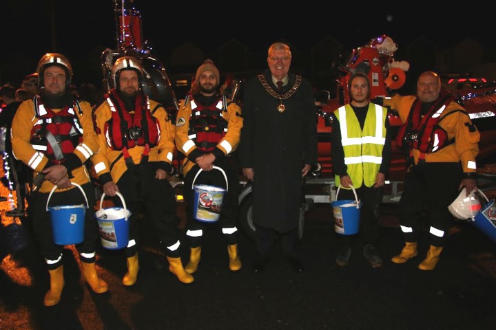 mayor with the water rescue team